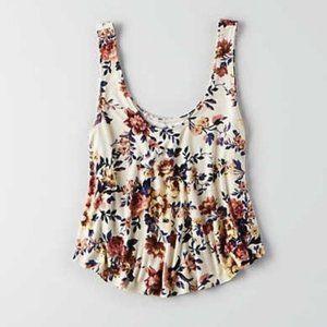 4/$30 AEO Soft & Sexy White Floral Tank Top Small